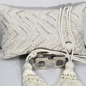 Pier 1 Cream w/Silver Beading & Thread Pillow EUC
